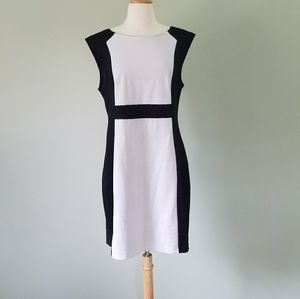 Inc black & white work dress XL